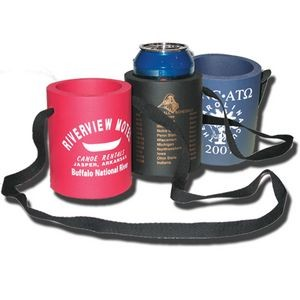 Hanging Foam Rubber Beverage Can Holder W/ Lanyard